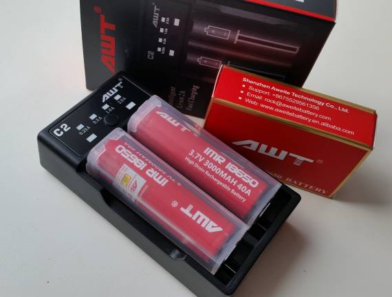 AWT IMR 18650 Battery and AWT C2-2A USB Charger
