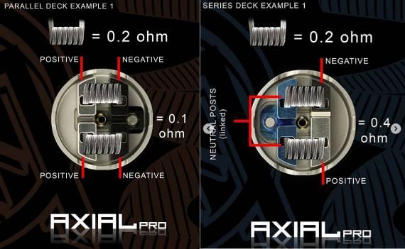 Mass Mods & Twistedmesses Axial Pro RDA - две деки - для параллельной и последовательной установки койлов...