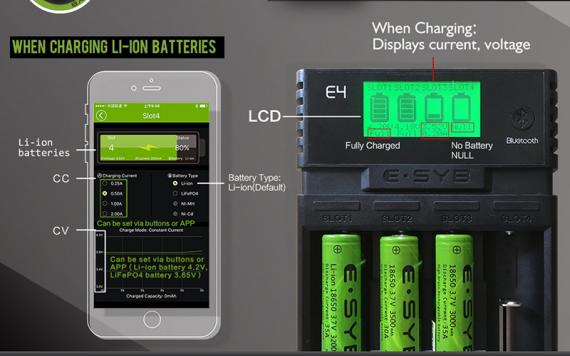 Неплохое зарядное устройство на 4 слота с Bluetooth и приложением на телефон. (ESYB E4)