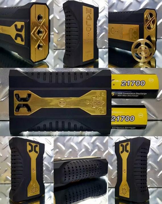 Halo, механический мод на два аккумулятора 21 700 и даже на две дрипки. Настоящая мощь в одном наборе